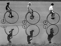 """""""The bicycle is the most civilized conveyance known to man. Only the bicycle remains pure in heart."""" ~Iris Murdoch, 'The Red and the Green' // Photographer, Aubrey Bodine Velo Retro, Velo Vintage, Vintage Cycles, Black White Photos, Black And White Photography, Old Pictures, Old Photos, Vintage Photographs, Vintage Photos"""