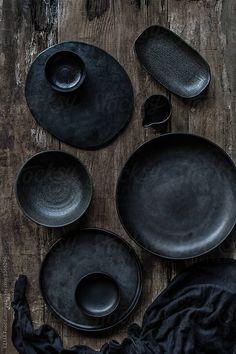 Black crockery by KEMA Food Culture for Stocksy United – Tableware Design 2020 Ceramic Tableware, Ceramic Pottery, Ceramic Art, Kitchenware, Wabi Sabi, 2018 Interior Trends, Cerámica Ideas, Deco Table, Wooden Background