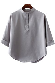 Stand-Up Collar Solid Color 3/4 Sleeve Shirt