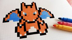 Handmade Pixel Art - How To Draw Charizard #pixelart