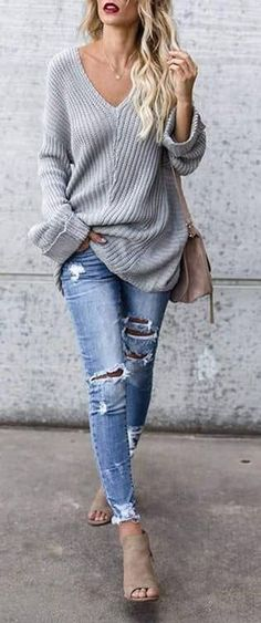 Grey Oversized Knit Pattern Sweater Outfit for Fall Fashion and Winter Fashion Outfits Style Spacez: 41 Cheap Big,Oversized,Chunky Sweater Outfit Ideas For Fall and Winter Chunky Sweater Outfit, Pullover Outfit, Loose Sweater, Winter Sweater Outfits, Fashion Mode, Look Fashion, Womens Fashion, Fall Fashion, Ladies Fashion
