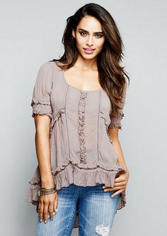 Piper Ruffle Front Hi-Lo Blouse . . . not sure if I could pull this off, but I like it!