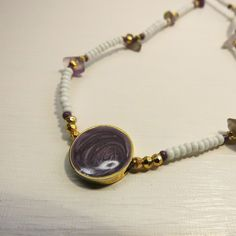 White, Gold + Purple Charm Choker Necklaces £6.29 - UNIQUE ONE OF A KIND JEWELLERY DESIGNS - Available now - https://www.etsy.com/listing/221711891/white-gold-purple-charm-choker-necklaces?ref=shop_home_active_1