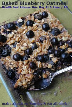 Baked Blueberry Oatmeal, make once on Sunday & eat all week!