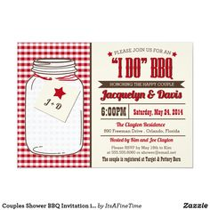 """Shop Couples Shower BBQ Invitation in Mason Jar """"I DO"""" created by ItsAFineTime. Mason Jar Invitations, Couples Shower Invitations, Zazzle Invitations, Country Picnic, Backyard Barbeque, I Do Bbq, Couple Shower, Bbq Party, Summer Bbq"""