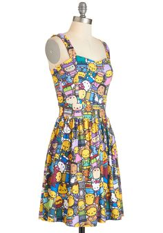 D'oh Happy Day Dress. Have an animated day in this delightfully printed dress! #multi #modcloth