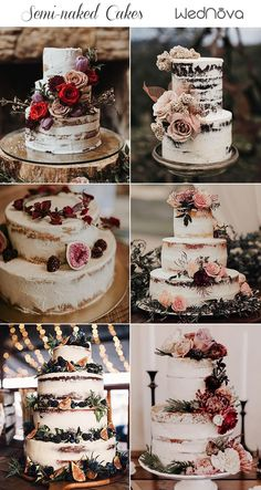 Amazing Rustic Wedding Cakes - Torte hochzeit - For Life Food How To Make Wedding Cake, Pretty Wedding Cakes, Floral Wedding Cakes, Wedding Cake Rustic, Beautiful Wedding Cakes, Wedding Cake Designs, Rustic Weddings, Rustic Cake, Wedding Cake Vintage