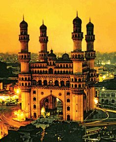The Charminar is a monument and mosque located in Hyderabad, Telangana, India. Via MBAonEMI Amazing India, Indian Architecture, Ancient Architecture, Famous Buildings, Famous Places, India Travel, India Trip, Historical Sites, Beautiful Places