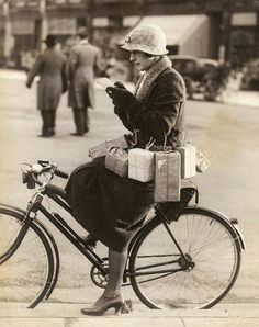 Shopping by bicycle in 1930.