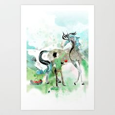 The boy & the runaway horse Art Print by bex glover - $24.00