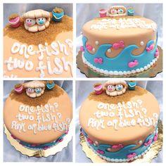 Gender reveal beach cake  www.cakequeensam.com #genderreveal