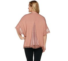 Dressed to impress, this LOGO cardigan is beautifully fashioned with an open front and lace along the hem. But the real show-stopping aspect is the kimono sleeves with mesh and lace trim. From LOGO by Lori Goldstein. QVC.com