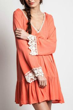 V-neck bell sleeve dress. Coral color with lace trim. Boho chic.   Hippy Coral  by KORI AMERICA. Clothing - Dresses - Long Sleeve Tennessee