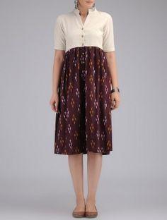 Cream-Burgundy Hand Woven Ikat Cotton Dress