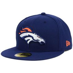 New Era Denver Broncos Official On Field 59FIFTY Cap ($35) ❤ liked on Polyvore featuring men's fashion, men's accessories, men's hats and navy