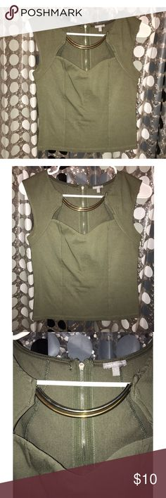 ☀️ Beautiful Olive green shirt size S Only worn once it's in great shape, with a beautiful olive green color and gold Accessory in the front side, zipper in the back to close works great! size S! Material is lovely as well, you can wear this to any party, get together, outdoor or inside of it it's a lovely top ☀️🌻 Charlotte Russe Tops
