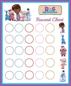 Doc McStuffins reward chart Toddler Reward Chart, Toddler Chart, Toddler Learning, Early Learning, Toddler Activities, Toddler Sleep, Kids Sleep, Printable Reward Charts, Incentive Charts