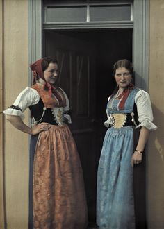 Hans Hildenbrand.Two young women wear the particular style of dress for the area. Appenzell Inner-Rhoden, Switzerland.