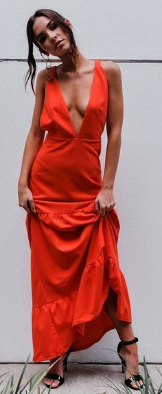 #summer #outfits Red V-neck Maxi Dress + Black Sandals