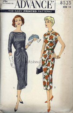Advance 8535 Vintage 1950s Draped Cocktail Dress Cowl Neckline by sydcam123