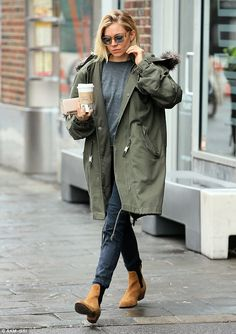 It's a wrap: The 33-year-old actress looked street chic in a green jacket with jeans, grey...