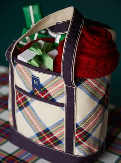 Our favorite plaid and our favorite tote, together at last. Makes the perfect present-hauler!