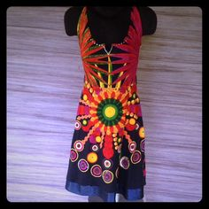 """Desigual Dress Absolutely stunning dress. Beaded neckline, sequins, and shiny satin detailed hem. Has the """"Desigual"""" signature on front bottom and middle back. Has two loops on side for a belt, but honestly it would take away from the design of the dress. Size is small but will fit a """"small"""" Medium Absolutely  No Trades Desigual Dresses"""