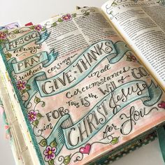 I Thessalonians 5:16-18 . #illustratedfaith #biblejournaling #ourgratefulhearts