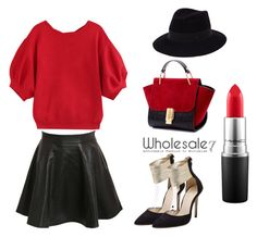 """""""Wholesale7/ Red Top&Pumps"""" by lee77 ❤ liked on Polyvore featuring Pilot, Maison Michel, MAC Cosmetics, women's clothing, women's fashion, women, female, woman, misses and juniors"""