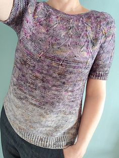 Ravelry: Out of the Purple pattern by Monica Elena Purple Pattern, Top Pattern, Knitting Patterns Free, Knit Patterns, Knit Tops, Knit Picks, Work Tops, Garter Stitch, Ravelry