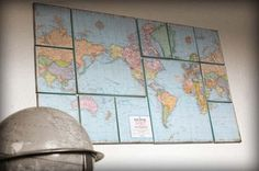 Crafty and fun way to break up a dull wall map.  You know you have some old National Geographic fold-outs lying around...
