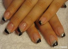 black / silver simple gel nails by vanezzalanz Nail Tip Designs, Classy Nail Designs, French Nail Designs, Black Nail Designs, Acrylic Nail Designs, Acrylic Nails, Nails Design, Ongles Gel French, French Manicure Nails