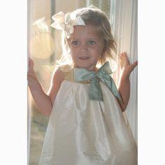La Petite Couture Toddler Little Girl Ivory Aqua Silk Bow Dress 6M-10