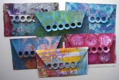 Using Gelli prints to make envelopes and matching cards wtih Carolyn Dube at aColorfulJourney.com