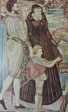 A tapestry detail shows Catherine de Medicis with Henry of Navarre and a court dwarf (Smith, Lacey Baldwin. The Horizon Book of the Elizabethan World. New York: American Heritage Pub. Dwarfism, Elizabethan Fashion, Ottoman Empire, Little People, 16th Century, Thesis, Medieval, England, Tapestry