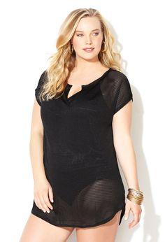 Black Soft Mesh Cover-Up-Plus Size Swimwear-Avenue
