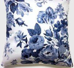 Love this!  Blue flower print pillows