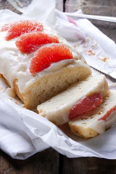 grapefruit cake: 1 grapefruit  3/4 c + 1 Tbsp (115g) flour  3/4 tsp baking powder  1/4 tsp salt  4 Tbsp (57g) butter, softened  2/3 c (131g) sugar  2/3 egg*, room temp  1 1/2 tsp vanilla  1/4 c (60ml) milk  4 oz (113g) cream cheese  1 c (156g) powdered sugar, more or less to taste