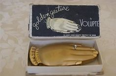 Rare-Golden-Gesture-Hand-Compact-w-Org-Box-by-Volupte-novelty-shape-w-ring