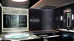 This is exactly what I want my bathroom to be like... a bthtub and a shower both with rain shower heads :) lovely...