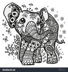 Black and white vector illustration of a baby elephant with mandala drawn on his skin -