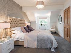 Master bedroom with en-suite Attic Master Bedroom, Attic Bedroom Designs, Attic Bedrooms, Bedroom With Ensuite, Room Ideas Bedroom, Bedroom Loft, Master Bedroom Design, Bedroom Styles, En Suite Bedroom