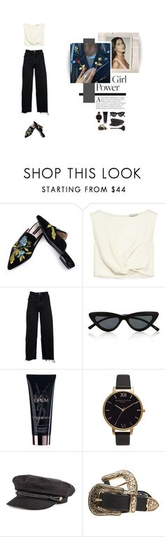 """""""Power Girl"""" by nudenim ❤ liked on Polyvore featuring Rachel Comey, RE/DONE, Le Specs, Yves Saint Laurent, Topshop, Brixton, B-Low the Belt and Kevyn Aucoin"""
