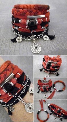 Red Black Boho Bracelet Set Chinese Coin Lucky Charm Bracelet