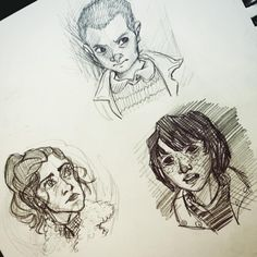 """""""Some Stranger Things doodles! Just a few of my favorite kids ❤️"""" Nancy Wheeler, Mike, and Eleven"""