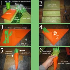 Making carrot napkins for Peter Rabbit Party
