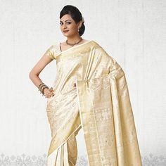 Cream Hand Woven Pure Kanchipuram Silk Saree with Blouse UTSAV fashion