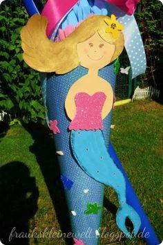Meerjungfrau Schultüte, gebastelt aus Pappe und Stoff fraukskleinewelt