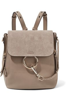Mushroom leather and suede (Calf) Snap-fastening front flap Designer color: Motty Grey Weighs approximately 2.6lbs/ 1.2kg Made in Italy