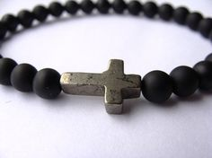 Mens Bracelet with matte Onyx beads and Pyrite sideways cross